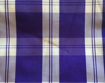 Tartan violet and white silk taffeta