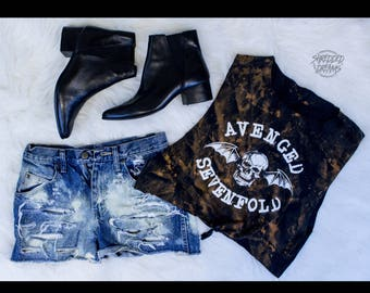 Avenged Sevenfold tie front crop top bleached distressed shirt - Reworked band tee