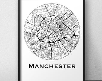 Poster Manchester England Minimalist Map (A4, A3, A2) map - City map, post town, wall Decoration, city map
