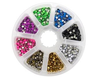 4200PCS Nail art Studs 8 colors 3mm square