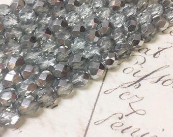 Silver glass beads, Faceted round, 6mm, Full strand