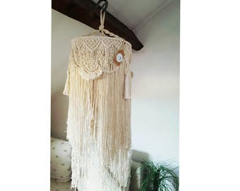Suspension in macrame rope Ecru cotton