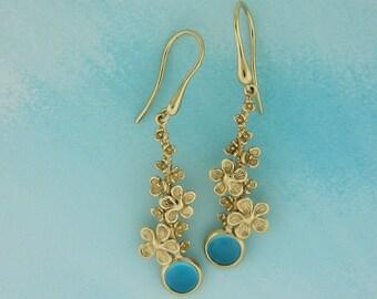 Floral drop earrings, Blue Topaz gold earrings, 14K Gold earrings, Something blue for bride, Long Dangle Earrings, Spring bouquet earrings