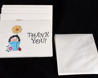 Hand Made Thank You Cards Set of 6 Thank You Cards HedgeHog Thank You Cards