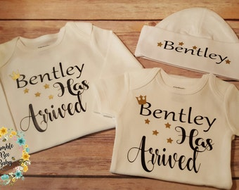 Newborn, Preemie,  Boy, Twins, Coming Home / Going Home, Monogramed, Bodysuit Onesie Set, He's sure to go home in style!