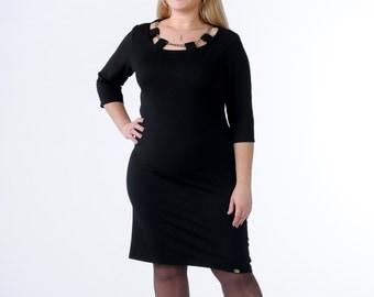 Black Jersey pencil dress Feminine dress Office dress warm autumn dress Casual dress round neck dress