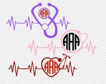 Heartbeat svg, Nurse svg, Stethoscope Monogram svg, Stethoscope svg, SVG Files, Cricut, Cameo, Cut file, Clipart, Svg, DXF, Png, Eps