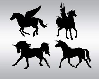 Unicorn svg, Pegasus svg, Unicorn silhouette, Unicorn clipart, Horse silhouette, Cricut, Cameo, Cut file, Clipart, Svg, DXF, Png, Pdf, Eps