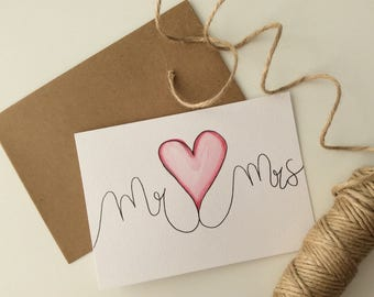 Mr and Mrs greeting card wedding
