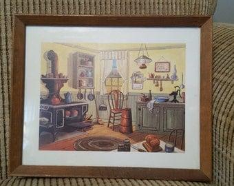 Vintage Farmhouse Kitchen Print in Frame