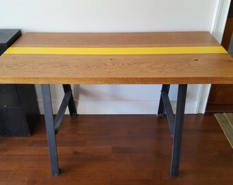 Reclaimed Wood A-Frame Table with Mustard Stripe
