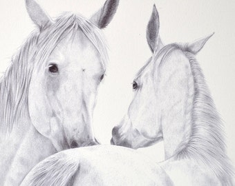 Scratches III - Original horse drawing in ballpoint pen art (unframed)