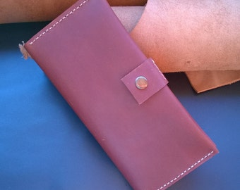 Handmade long wallet natural leather