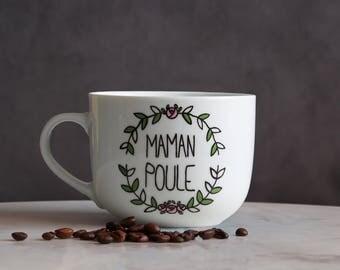 Cup hen mum wreath, mother hen flowers crown mug