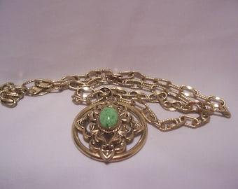 Whiting  Davis Pendant Gold Tone Necklace