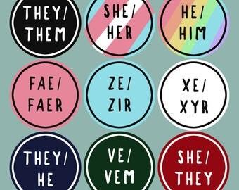 Customizable Pronoun Sticker Sheets