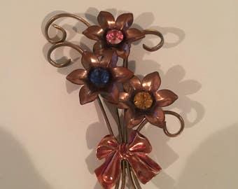 Van Dell Vintage Copper Gold Brooch Pin