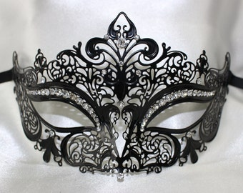 Ladies Black Metal Filigree Fleur De Masquerade Mask - Quality Replica MK-9942