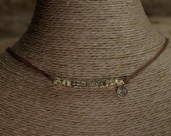 """Pendant Dulcinea """"WILD FOREST"""" - Brown cotton cord"""
