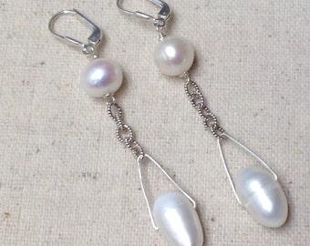 White Baroque Pearl Silver Chain dangle chandelier drop earrings