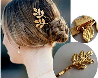 2x Gold Brass Branch Bobby Pins Gold Olive Leaf Hair Clips Nature Hair Accessories Wedding Raw Brass Leaves Forest Fairy Pixie Hair Slides