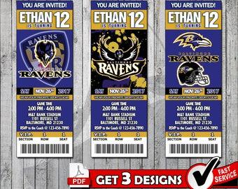 Football Baltimore Ravens Printable Invitation Tickets - Digital files only
