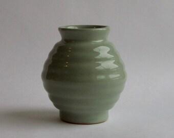 mintgreen coloured vintage retro corrugated little vase