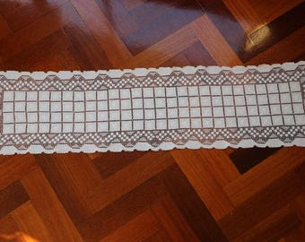 Vintage Ivory filet lace table runner. Proceeds to charity VACD Ltd
