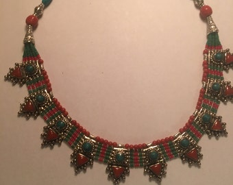 Tibetin Silver Turquoise and Red Coral Necklace 18 inches