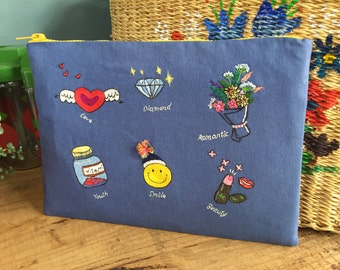 """DIY Embroidery kit for """"Blue It Girl"""" Pouch"""