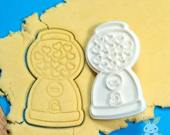 Heart Candy Machine Cookie Cutter and Stamp Set