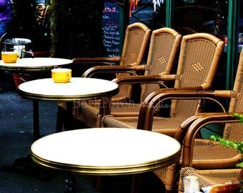 French Cafe tables; Paris, France; Outdoor cafe; Coffee cups; Kitchen; Restaurant; Coffee shop; Europe travel photography; wall art; poster