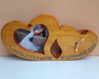 Wedding clock/wedding gift/personalised wedding gift/bride and groom/reclaimed wood/wedding day