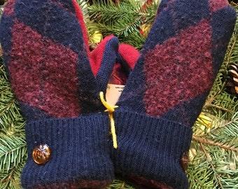 Upcycled Sweater Mittens, ladies medium