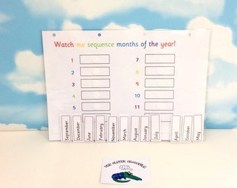 Learn months of the year, sequence months, teaching resource, visual learners, KS1, homework aid, 12 months, learning and school