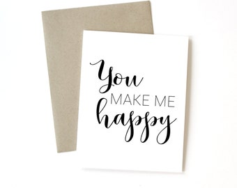 You Make Me Happy | Card || Greeting Card | Love Card | Anniversary Card | Wife Card | Sweet Card | Just Because Card | Valentine Card