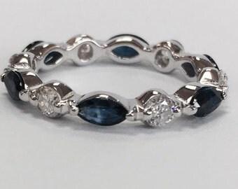 Marquis sapphire diamond eternity ring
