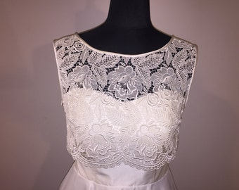Lace Top, Ivory with Pearl Buttons for Wedding or Bridal attire.