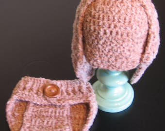 Crochet Infant Bunny Hat and Diaper Cover 2-Piece Set Newborn Infant Photo Prop Long Ear Bunny Hat