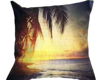 Beach Scene Pillow 17 x 17 Tropic View Palm Tree Cotton Linen Beach3