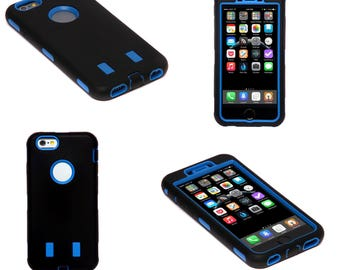 Blue and Black Hard Shock Proof Armour Tough Case Cover for iPhone 6 and 6S Plus