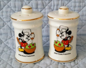 Chef Mickey Mouse Salt and Pepper Shakers, Japan, c.1970.