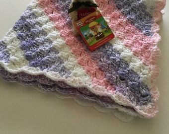 Pink and Lavendar Baby Blanket, Crochet Baby Blanket, Crib Blanket, Crochet Crib Blanket, Baby Girl Blanket, Handmade Baby Blanket,