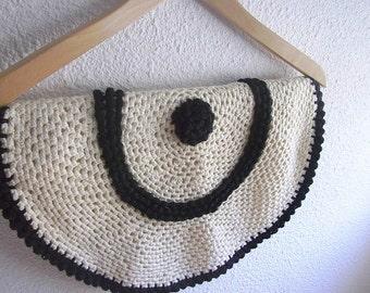 Handmade crocheted round cushion cover Crochet item black and white