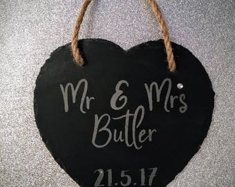 Personalised Engraved Heart Shapes Slate Plaque - Perfect Wedding Gift