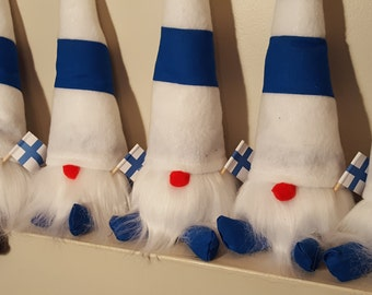 Finland Finnish Flag Gnome, Hand Made Scandinavian Gnome