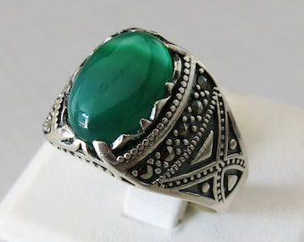 Handmade 925 Sterling Silver Natural Green Agate Stone Men's S RING #B47