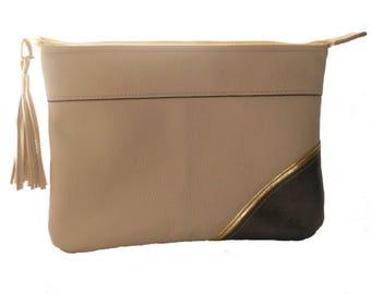 Pocket Leather full grain beige and bronze