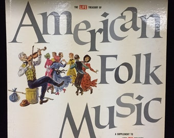 """RARE*! The LIFE treasury of american folk music 12"""" vinyl record - featuring lead belly, woody guthrie + more!"""