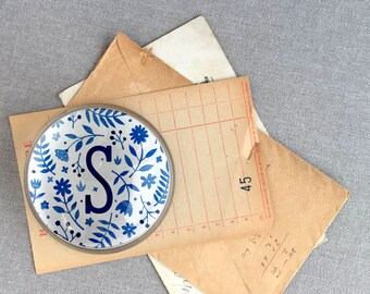 Blue and White floral initial paperweight, personalized paperweight, mother's day gift